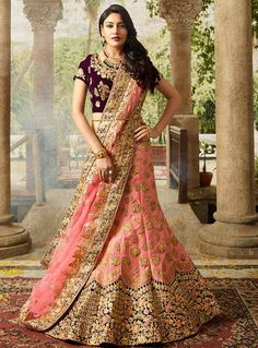 Surbhi Chandna Pink Silk Embroidery Work A Line Lehenga Choli 117594