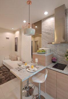 Home.co.id   Inspirasi: Impresi Hangat Apartemen Dua Kamar Tidur Architecture Interiors, House Decorations, My Dream Home, Dining Room, Kitchen, Inspiration, Furniture, Home Decor, Art