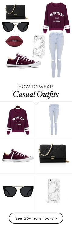 """Casual"" by mariinelcrn on Polyvore featuring Converse, Topshop, WithChic, Michael Kors, Quay and Lime Crime"