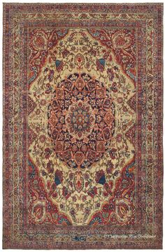 """First half of the 19th Century Persian Court style rug: Laver Kirman """"Malek Baba"""""""