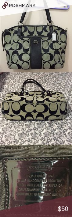 """🏁Coach Signature Stripe Pocket Tote 🏁Coach Signature Stripe Pocket Tote. No stains. The only flaw is the handles are starting to come undone (see pic). No long strap either. Approximately 16"""" x 11"""" x 4"""" with a 7 1/2"""" handle drop. Coach Bags Shoulder Bags"""