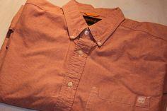 Timberland Long Sleeve Button Down Button Front Shirt Tangerine Cotton  #Timberland #ButtonFront