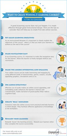 Want to Create Winning E-learning Courses? 6 Tips - An Infographic Instructional Strategies, Instructional Design, Educational Psychology, Educational Technology, Learning Theory, 21st Century Learning, Training And Development, Learning Courses, Learning Objectives