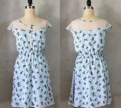 Petit Dejeuner Sky blue floral print dress with white lace illusion neckline Illusion Neckline, Lace Inset, Pretty Pastel, Chiffon Dress, Dress Making, White Lace, Vintage Inspired, Floral Prints, Short Sleeve Dresses