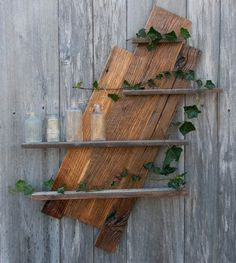 Reclaimed Barnwood and Poplar House Siding Diagonal Display with Four Shelves Old Barn Wood, Reclaimed Barn Wood, Rustic Wood, Wood Wall Shelf, Wood Shelves, Wood Siding House, Old Wood Projects, Palette Deco, Steampunk Furniture
