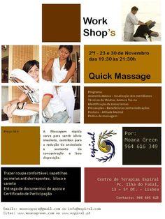 Workshop Quick Massagem - pós laboral, 2ªf., 23 e 30 de Novembro