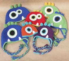 Crochet Monster Hats Oh my that orange and blue one is calling my name!!!!!!!!!!!!