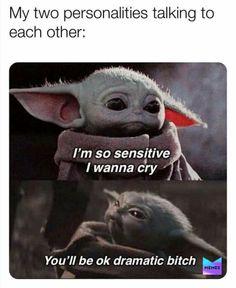 Really Funny Memes, Stupid Funny Memes, Funny Relatable Memes, Funny Texts, Funny Stuff, Funny Humor, Yoda Meme, Yoda Funny, Memes Argentina