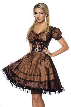 DIRNDLINE 3 pieces Mini Dirndl Traditional Dress from Jacquard (Dress, Apron & Blouse) in 5 Varieties A70000 - Brown (Sw 32), UK 20 (Sw 68)