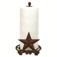 Cast Iron Star Paper Towel Holder - A Black Forest Decor Exclusive - Classic western stars decorate the base and front of the Cast Iron Star Paper Towel Holder in a rustic brown finish. Measures 7 x 7 x 12 ~ Western Kitchen Decor, Country Decor, Rustic Kitchen, Tex Mex, Texas Star Decor, Rustic Paper Towel Holders, Primitive Bathrooms, Country Bathrooms, Primitive Kitchen