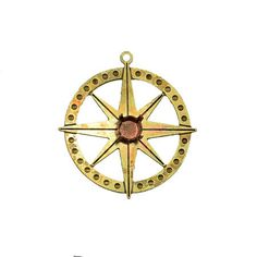 Round pendant compass combined rivoli 29ss/ 6 mm by kopajewelry