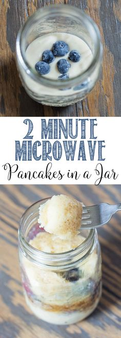 Pancakes in a jar that take only 2 minutes to work up and are healthy!