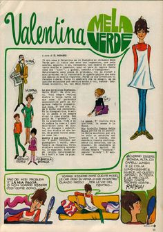 Valentina Mela Verde, di Grazia Nidasio, tavole settimanali sul Corriere dei Piccoli negli anni '70! ♥