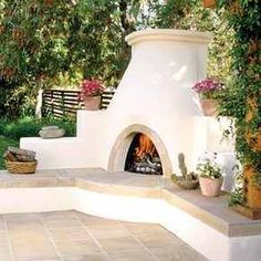 Country style design for outdoor corner fireplace plastered