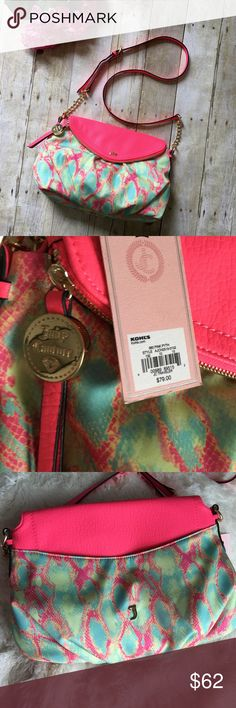 "Juicy Couture Pink Traveler crossbody Purse New with tags. Great colors. Adjustable strap. One large open pocket on outside. Inside has one zip pocket, two open pockets and the large open pouch. Top also unzips to a large pocket. 10 inches tall. About 13 inches in length and about 3 inches wide.  ❌ No trades or off Poshmark transactions.   Quick shipping.   Offers welcome through ""Make an Offer"" feature.    Bundle discount.   ❔ Feel free to ask any questions. Juicy Couture Bags Crossbody…"