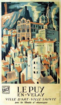 SNCF - Le Puy-en-Velay - Ville d'Art, ville Sainte par la route d'Auvergne - illustration de Kaeppelin -