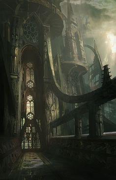 Vaskalar Main Headquarters: Entrance (Artwork: Epic Futuristic Gothic Cathedral - Illustration by James Paick) Dark Fantasy, 3d Fantasy, Fantasy Kunst, Fantasy Places, Fantasy Setting, Fantasy Landscape, Fantasy World, Fantasy Castle, Medieval