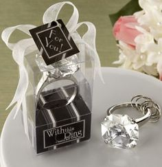 Crystal Diamond Ring Keychain in Gift Box (Kate Aspen 11020NA) | Buy at Wedding Favors Unlimited (http://www.weddingfavorsunlimited.com/crystal_diamond_ring_keychain_in_gift_box.html).