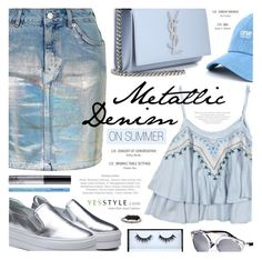 """How to Wear Metallic & Denim on Summer"" by noviii ❤ liked on Polyvore featuring Topshop, Yves Saint Laurent, Una-Home, Huda Beauty, NYX, Too Faced Cosmetics, party, anniversary, celebration and yesstyle"
