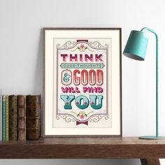 Think Good Thoughts- Cross Stitch Pattern (Digital Format - PDF) by Stitchrovia on Etsy