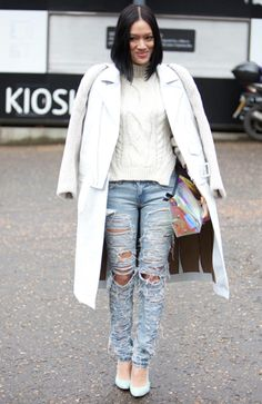 Distressed Jeans Street Style London Fashion Week