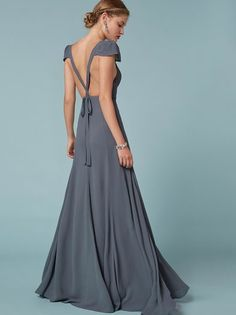 Do unto your bridesmaids as you would want done unto you. This is a floor length dress with a cap sleeve, sweetheart neckline and cross-back straps.
