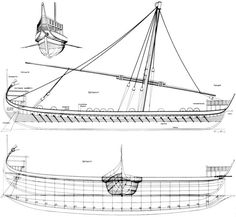 Byzantine Bireme dromon blueprints - bireme refers to the sets of oars (Bi = 2) (Tri = 3) etc.