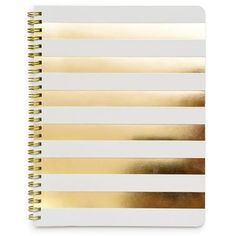 Make your work beautiful with the Cabana Stripe Notebook from Sugar Paper. It is spiral bound with bright gold foil cabana stripes and 50 lined pages. Dimensions: 9 x 7 inches Cute Notebooks, Journals, Book Journal, Journal Ideas, Bullet Journal, Cute School Supplies, Office Supplies, Desk Supplies, Craft Supplies