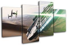 Bold Bloc Design - Star Wars Millenium Falcon Movie Great Wall Art for Geek Boys Bedroom Decor