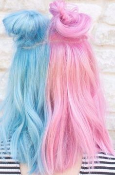 25 Pastel Blue Hair Color Ideas - Hair Options to Try in Pastel Blue Hair Color Ideas The current trend is totally pastel shades. If earlier turquoise, lavender, peach curls could be seen only in magazines o. Blue And Pink Hair, Dyed Hair Blue, Dyed Hair Pastel, Dye My Hair, Gray Hair, Two Color Hair, Hair Dye Colors, Cool Hair Color, Smokey Blue Hair