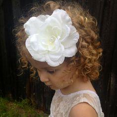 The Saving Grace White shabby headband by HeadbandsbyHeadHugs