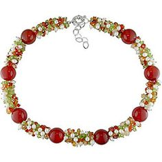 @Overstock.com - Necklace offers a festive look with bright red carnelian beads and contrasting multi-color quartz Cheerful necklace is accented with creamy white freshwater pearls Jewelry is crafted of glittering white metalhttp://www.overstock.com/Jewelry-Watches/Carnelian-Quartz-and-Pearl-Bead-Necklace/4511625/product.html?CID=214117 $40.49