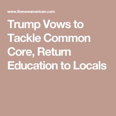 Trump Vows to Tackle Common Core, Return Education to Locals