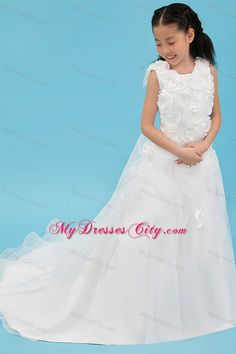 White Scoop Organza Rolling Flowers Girl Dress with Court Train