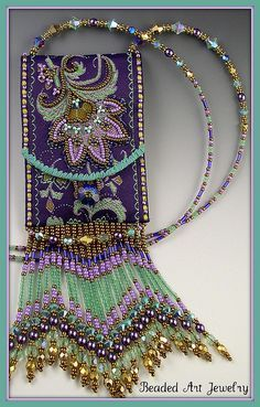 this is just gorgeous Beaded Jewelry Elegant St Petersburg chain by Vela Beckwith Bead embroidery ribbon pouch -- Beaded Art Jewelry sweet Beaded Beads, Beaded Jewelry, Handmade Jewelry, Ribbon Jewelry, Loom Beading, Beading Patterns, Ribbon Embroidery, Embroidery Designs, Embroidery Bracelets
