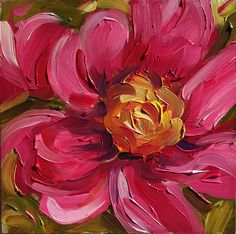 Small painting 4 x 4 inch painting oil painting pink peony