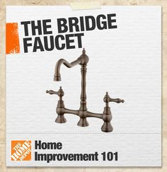 A bridge-style is a faucet where the handles and faucet neck are linked together by a narrow bridge above the sink deck, rather than out of sight below the sink deck. These faucets often sport a more vintage look, and suit a more traditional kitchen or bathroom. #101