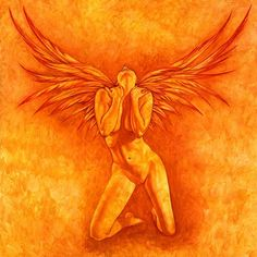 This Fire Angel is wild and free, she celebrates the joy of life and passion. Taken from one of my original oil paintings, this Giclee art print is