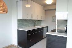 Kitchen:Modern Kitchen Small Space Design Ideas With Black Modern Small Kitchen Cabinet And Plaid Grey Ceramic Backsplash Aslo Chrome Sink Plus White Ceramic Floor Elegant Minimalist Kitchen Small Space Design