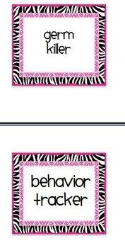 Classroom Job Cards zebra