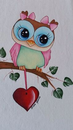 Cute Girl Owl with a Dangling Heart. Tole Painting, Fabric Painting, Fabric Paint Shirt, Wal Art, Owl Pictures, Simple Pictures, Bird Art, Rock Art, Painted Rocks