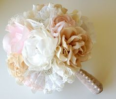 Custom fabric flower bouquet Vintage Weddings Peony by Innstyches, £185.00
