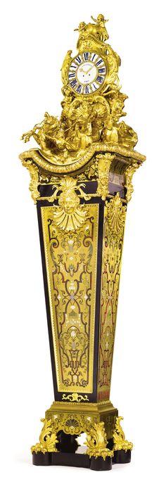 """J.-P. DEVILLE ET FRÈRES active circa 1830 to circa 1880 """"GAINE DE FONTAINEBLEAU,"""" A NAPOLÉON III LOUIS XIV STYLE GILT BRONZE MOUNTED EBONIZED AND BOULLE STYLE MARQUETRY PENDULE DE PARQUET,Paris, circa 1870-75"""