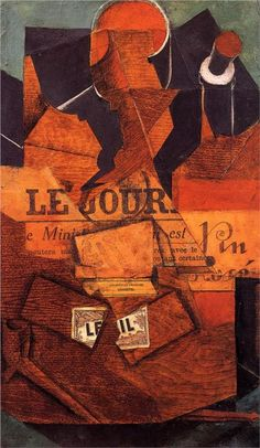 Tobacco, Newspaper and Bottle of Wine - Juan Gris completion date 1914 synthetic cubism Georges Braque, Henri Matisse, Pablo Picasso, Collages, Synthetic Cubism, Modern Art, Contemporary Art, Francis Picabia, Cubism Art