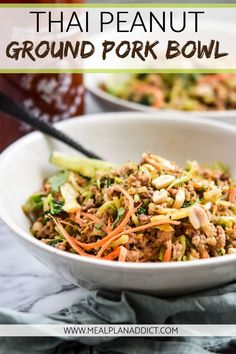 Thai Peanut Ground Pork Bowl – Meal Plan Addict – Famous Last Words Healthy Pork Recipes, Pork Recipes For Dinner, Healthy Meal Prep, Asian Recipes, Cooking Recipes, Thai Recipes, Recipes For Ground Pork, Recipe Ground Pork, Pork Stirfry Recipes