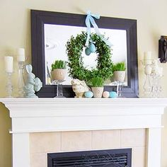 Spring and Easter Mantel Decorating Ideas