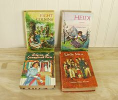 Vintage Book Collection Whitman Classic Library, Heidi, Little Men, Rebecca Of Sunnybrook Farm, Eight Cousins Young Adult Classic Literature by HipCatRetroVintage on Etsy
