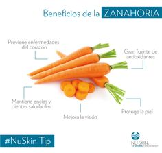 Descubre los beneficios de consumir zanahoria. #NuSkinTip Nu Skin, Skin Tips, Fruits And Vegetables, Carrots, Food, Cottage, Benefits Of, Carrot, Vitamin E