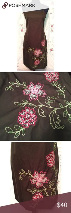 """J.CREW Cotton Embroidered Dress with thin straps and back zipper. The color is a dark army green with Pink and light green embroidered flowers. Size 10, all cotton. Length is 33"""", bust measures 36"""" and the waist is 33"""". Kind of a boxy style. J. Crew Dresses Midi"""