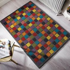 Illusion Abstract Blocks Rugs in Blue and Ochre - Free UK Delivery - The Rug Seller